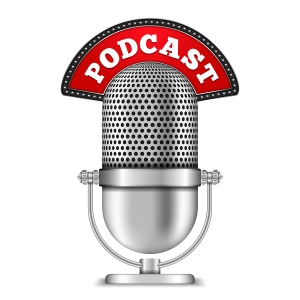 Microphone with podcast banner, vector eps10 illustration
